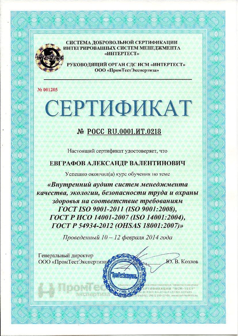 Сертификат обучения ISO(1)
