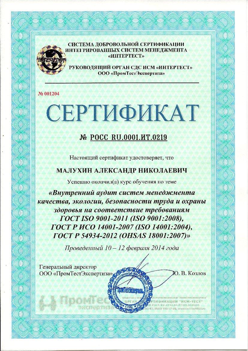 Сертификат обучения ISO(2)