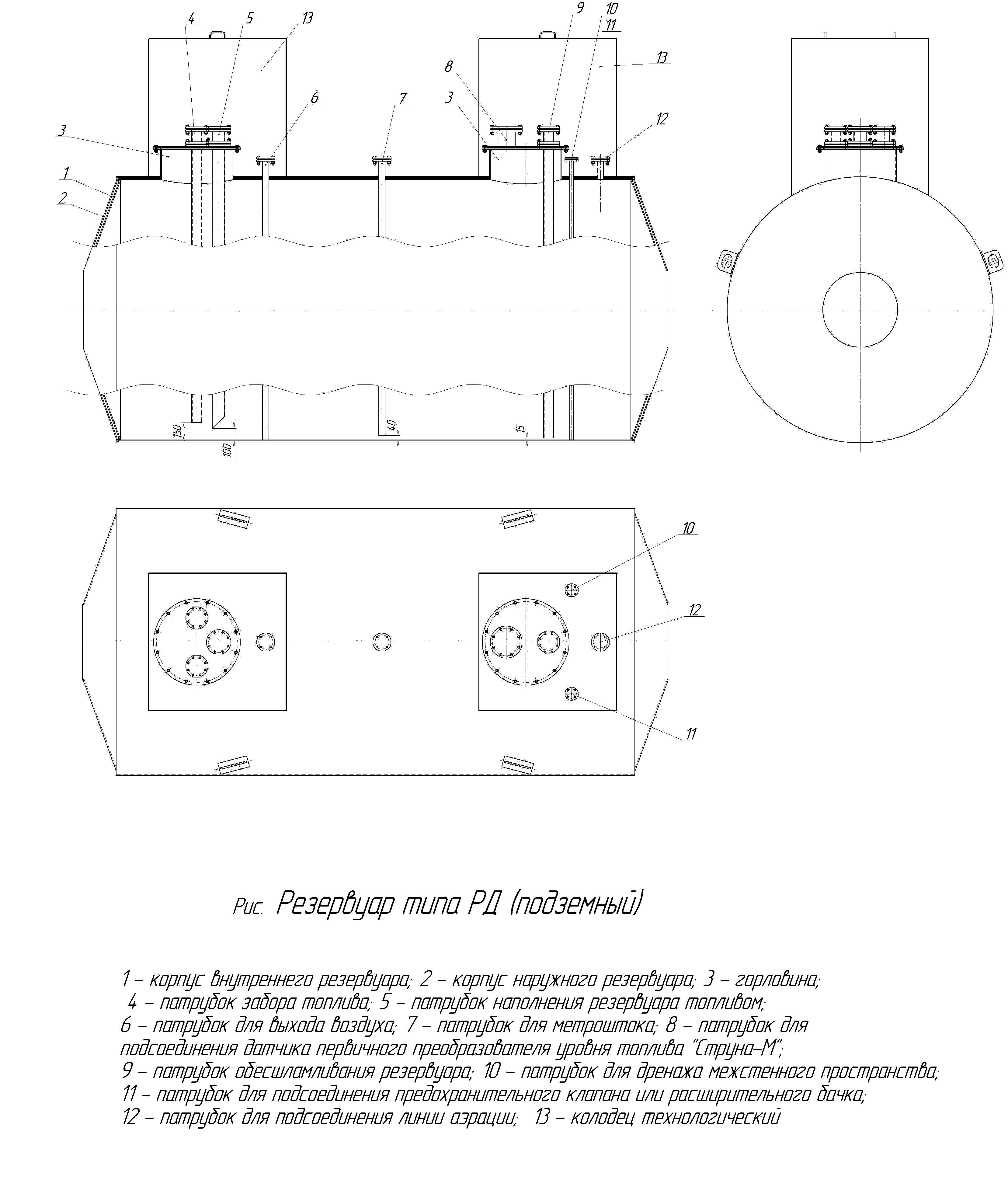 Резервуар горизонтальный стальной двухстенный подземный РГСДП